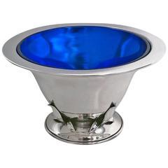 Carl Poul Petersen Sterling Silver Bowl, Original Cobalt Liner, Montreal