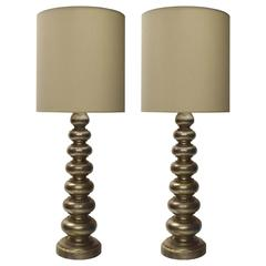 Pair of Tall, Silver Leaf Table Lamps, USA, circa 1950