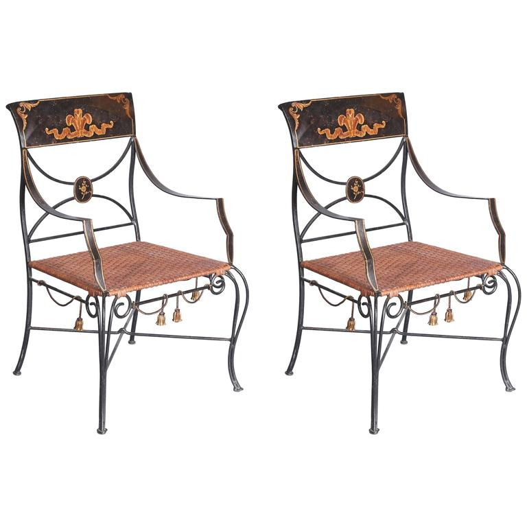 Pair Of Whimsical Regency Style Painted Wrought Iron Chairs For Sale At 1stdibs