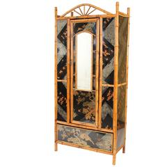 Bamboo and Chinoiserie Decorated Armoire
