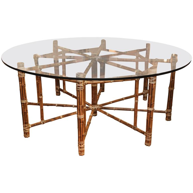 McGuire Octagon Bamboo Dining Table With Round Top For Sale