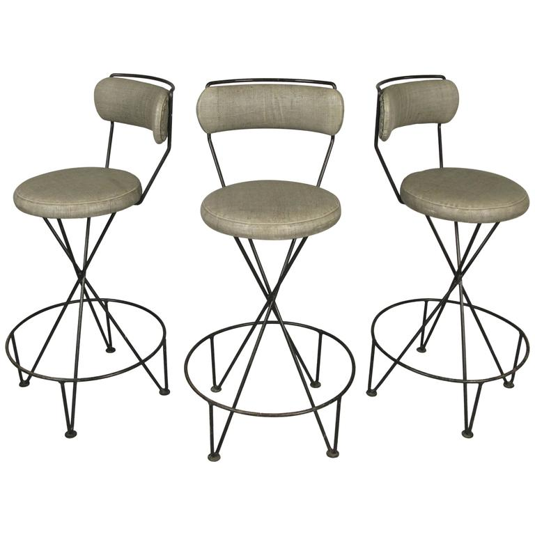 Set of Three Mid-Century Iron Barstools For Sale