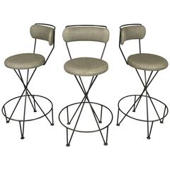 Set of Three Mid-Century Iron Barstools