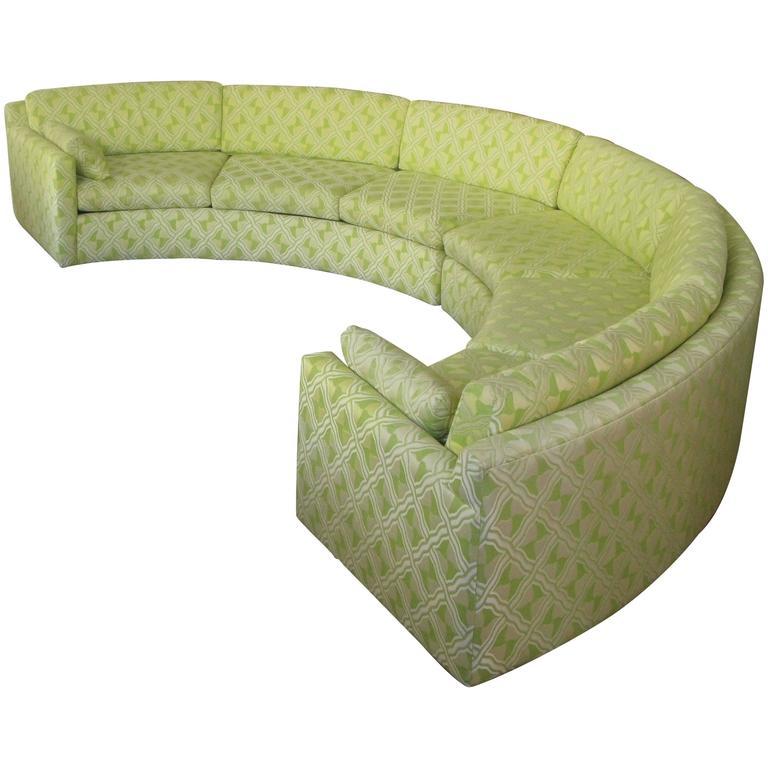 Large Circular Sectional Sofas: Semi Circular Curved 1970s Sectional Sofa By Milo Baughman