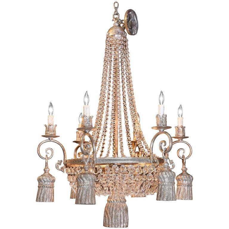 Six Light Empire Style Chandelier With A Silver Finish
