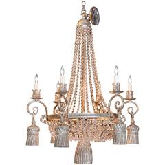 Six-Light Empire Style Chandelier with a Silver Finish