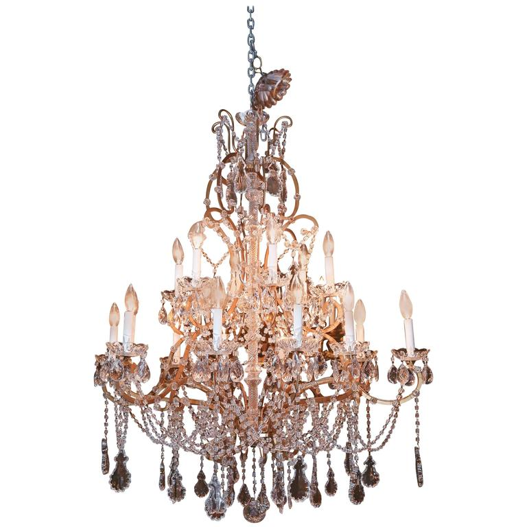 Eighteen-Light Italian Antique Crystal and Beaded Chandelier