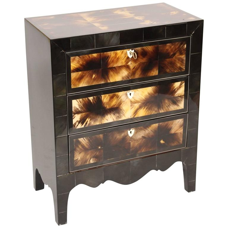 Modern Style Cow Horn and Lacquered Three-Drawer Chest of Drawers For Sale