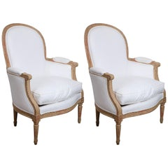 Pair of Painted Louis XVI-Style French Bergeres