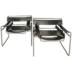 Pair of Vintage Knoll Leather Wassily Lounge Chairs
