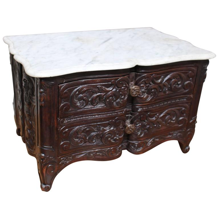 French Louis XV Style Carved Walnut Miniature Commode