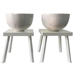 Exceptional Huge Ceramic Crucibles on Pedestals, Two Available