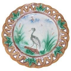 19th Century Majolica Heron Reticulated Plate Wedgwood