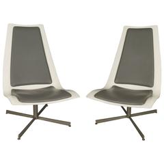 Pair of 1960s Modern Swivel Lounge Chairs