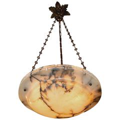 French Alabaster Bronze Greek Key Pendant Light or Chandelier