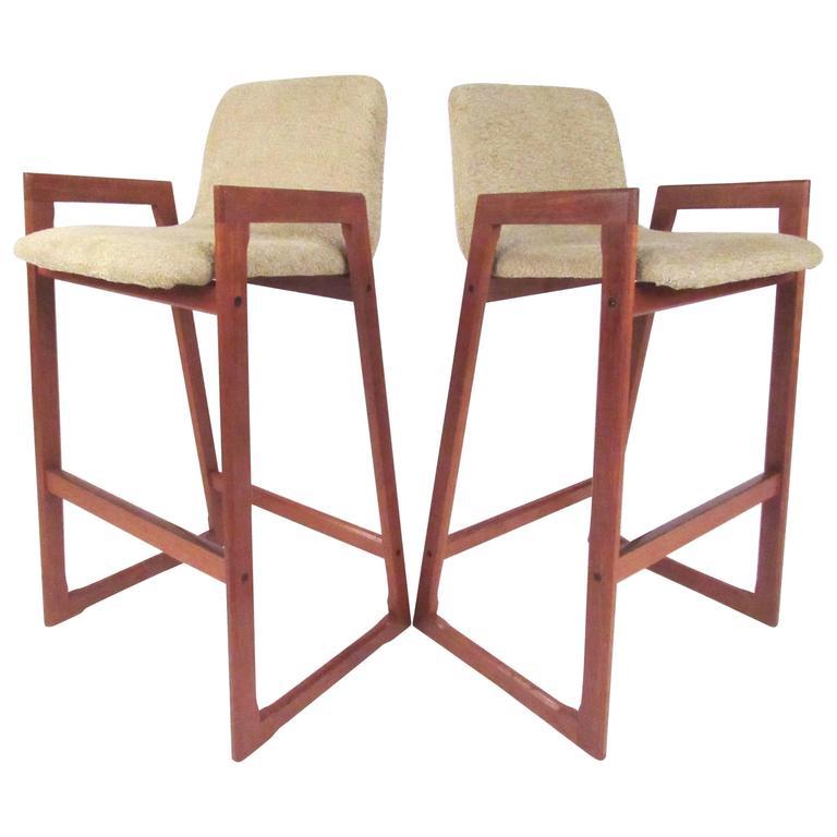 Pair of Mid-Century Modern Danish Teak Barstools