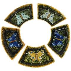 Set of Five Austrian Majolica Butterflies Dishes, circa 1900