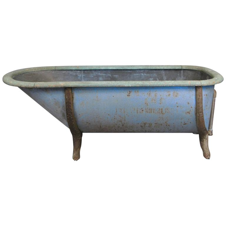 antique late 19th century zinc and cast iron bathtub at 1stdibs