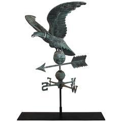 19th Century Monumental Full Body Eagle Weather Vane with Custom Iron Mount