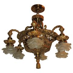 Wonderful French Dore Bronze Basket Form Pierced and Swag Chandelier Fixture