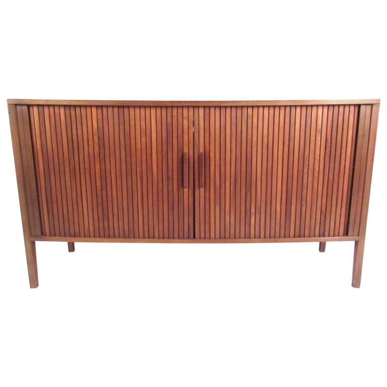 Mid-Century Modern Tambour Credenza For Sale