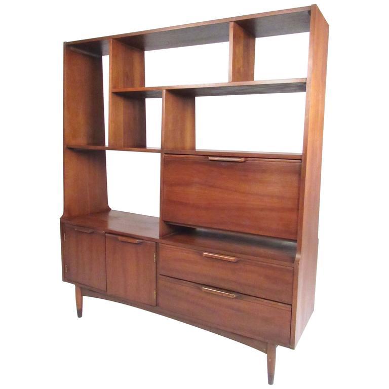 mid century modern bookshelf Mid Century Modern Walnut Bookshelf Room Divider at 1stdibs mid century modern bookshelf