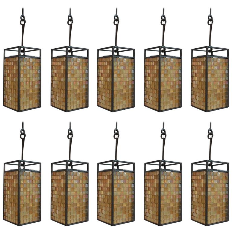 Rare Set of Ten Mosaic Tiles Lights Industrial Style