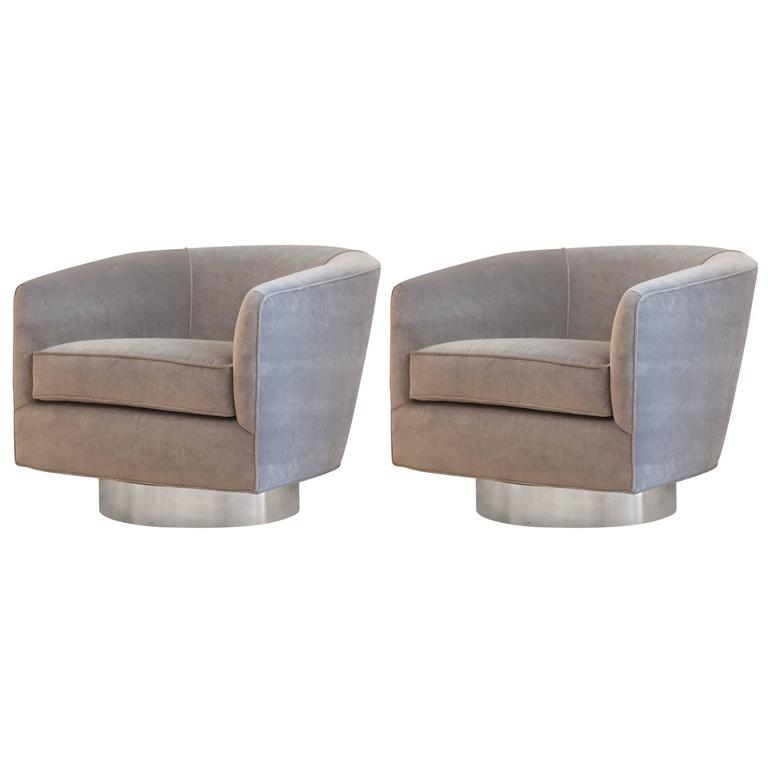 Pair of Milo Baughman Bucket Swivel Chairs 1