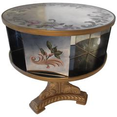 Églomisé Rotating Drum Table with Mirrored Galleries