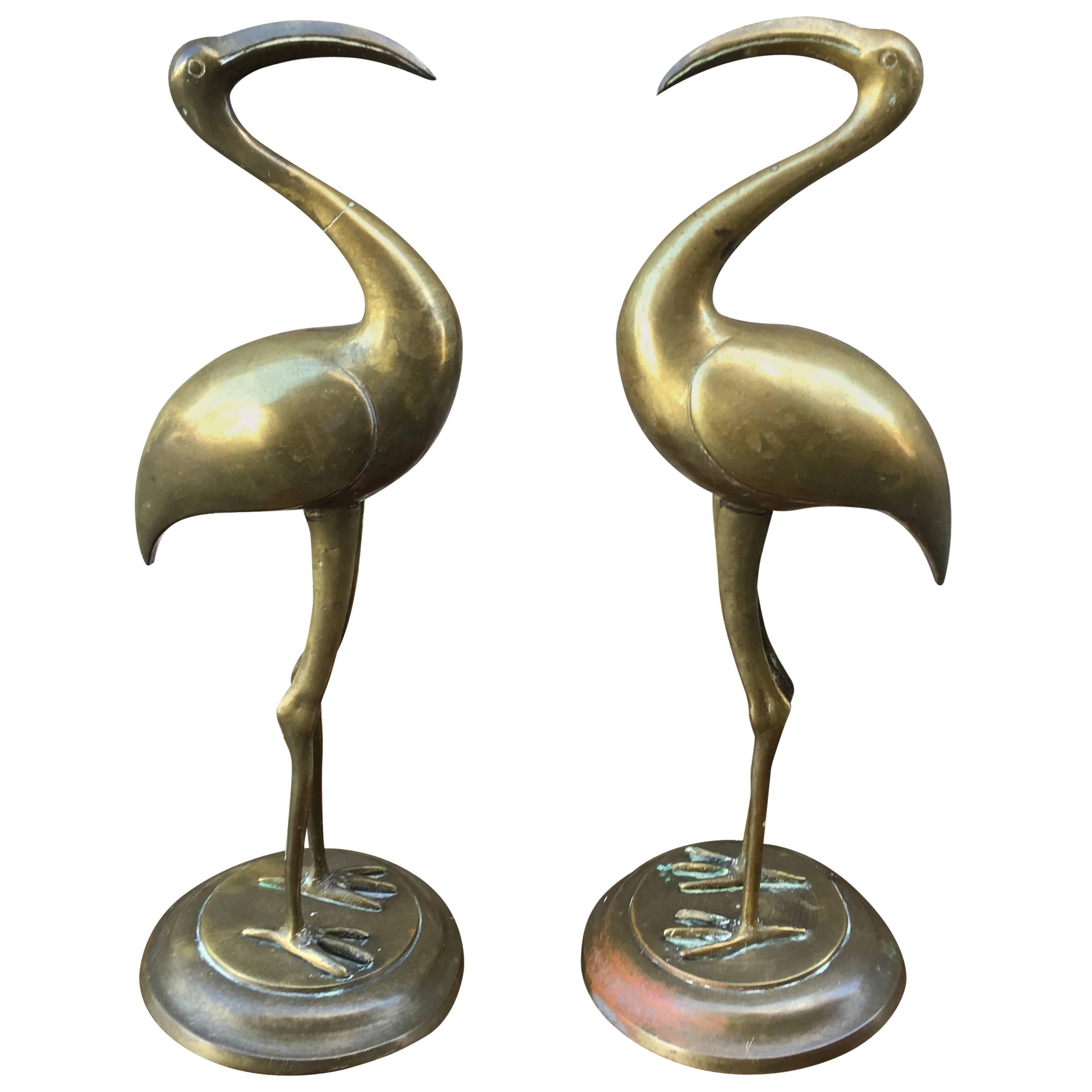 Pair of Early 20th Century Brass Egrets