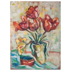 French 20th Century Floral Oil Painting