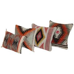 Collection of Four Navajo Indian Weaving Mini Pillows