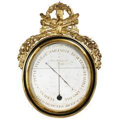 Louis XVI Giltwood and Ebonized Barometer