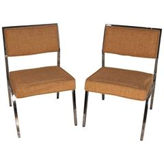 Pair of Mid-Century Chrome Framed Upholstered Chairs