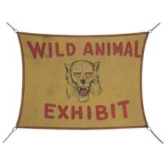 """Wild Animal Exhibit"" Painted Carnival Sign, circa 1940"