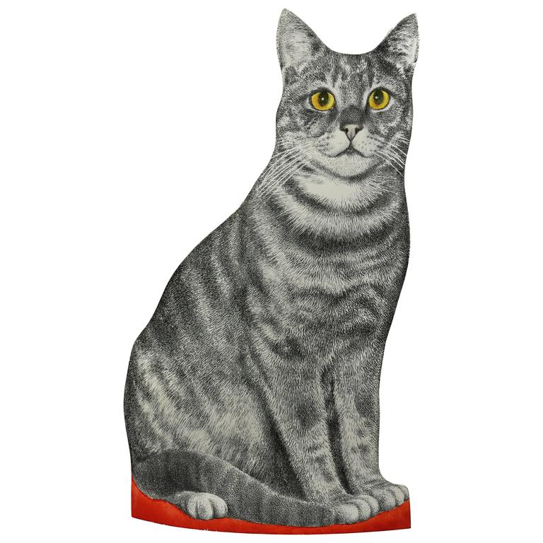 Fornasetti Toleware Cat Form Waste Basket