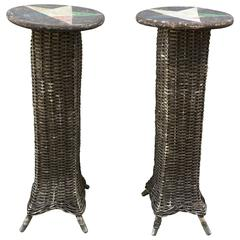 Pair of Wicker Plant Stands with Star Motif Tops