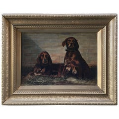 Oil on Canvas Unsigned, Dogs at Rest Early 20th Century