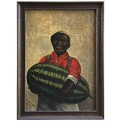 """Oil on Panel """"Man with Prize Winning Watermelon"""""""