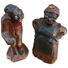 Pair of Figural Man and Woman Signed Natural Bridge, NY