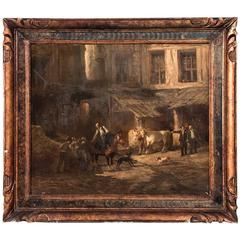 Antique 19th Century French Oil Painting of a Village Stable by L. Sauerfelt