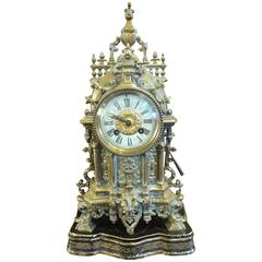 Very Beautiful Gothic Mantel Clock, 19th Century