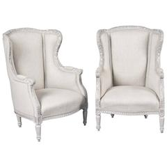 Pair of Early 20th Century Neoclassic Swedish Light Gray Wingback Chairs