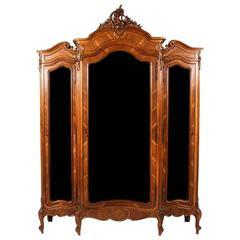 Antique Three-Door Louis XV-Style Armoire