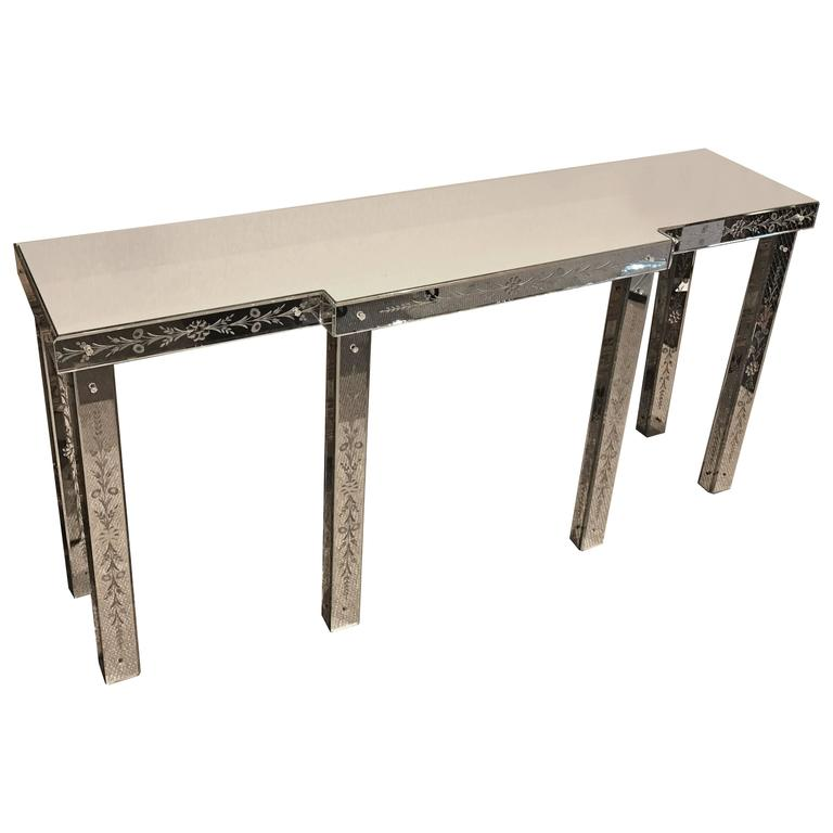Venetian Engraved Mirrored Console