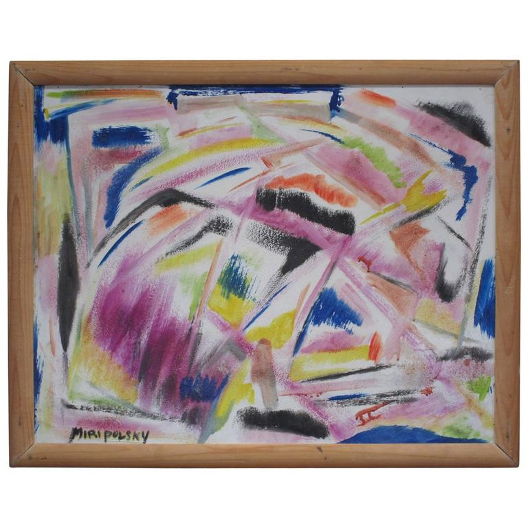 Little Abstract Oil Painting on Board by Bert Miripolsky For Sale