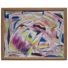 Little Abstract Oil Painting on Board by Bert Miripolsky
