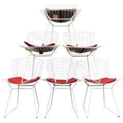 Mid-Century Knoll Bertoia Wire Chairs in White with Red Seat Pads