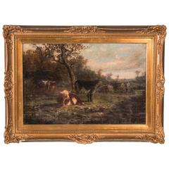 Antique 19th Century Original English Oil Painting, Landscape with Cows