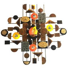 Striking Large Enameled and Brass Brutalist Wall Hanging Sculpture